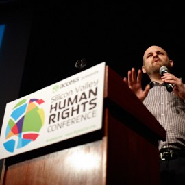 Brett Solomon, Executive Director at Access, addresses attendees at RightsCon 2011.