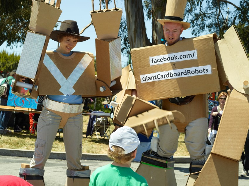 Giant Cardboard Robots by Peter Adams.