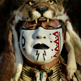 Native American Mountain Lion Headdress by Peter Adams.