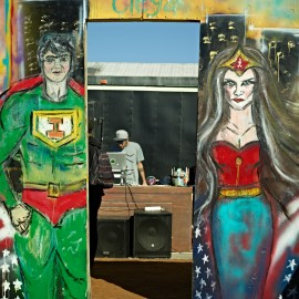 Super hero Street Fair by Peter Adams.